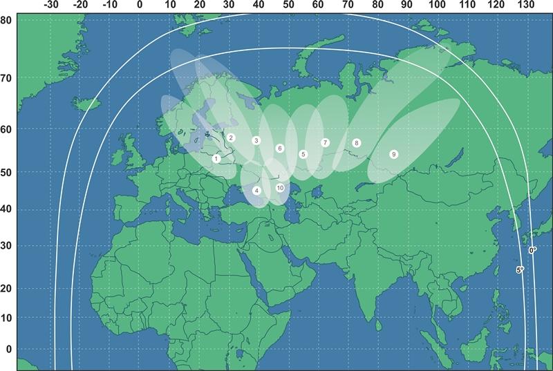 Зона охвата спутника Экспресс-АМ6 Ka-диапазон