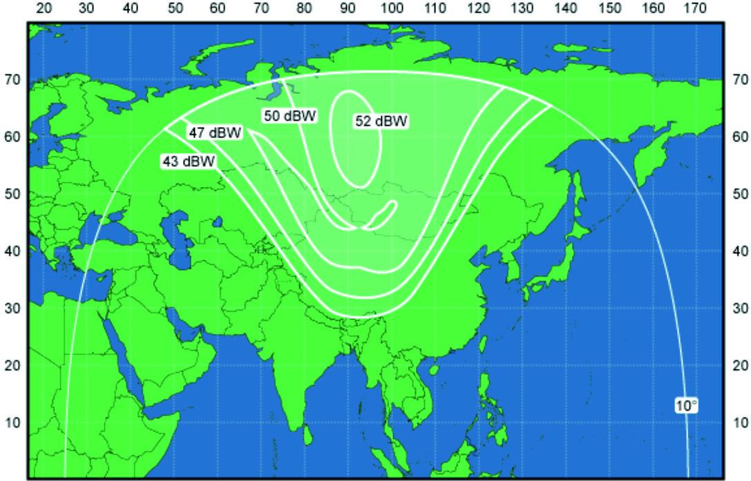 Зона охвата спутника Экспресс-АМ33 (луч 1)