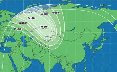Зона охвата спутника Экспресс-АМ33 (луч 2)