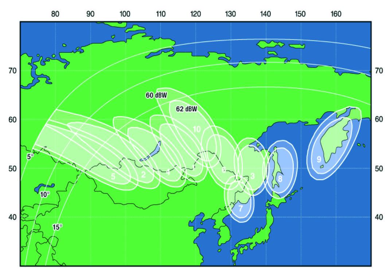 Зона охвата спутника Экспресс-АМ5 (диапазон Ka)