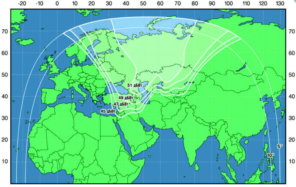 Зона охвата спутника Экспресс-АМ6 (Ku диапазон)