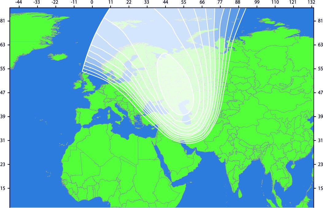 Зона охвата спутника IntelSat-905 (spot 1)