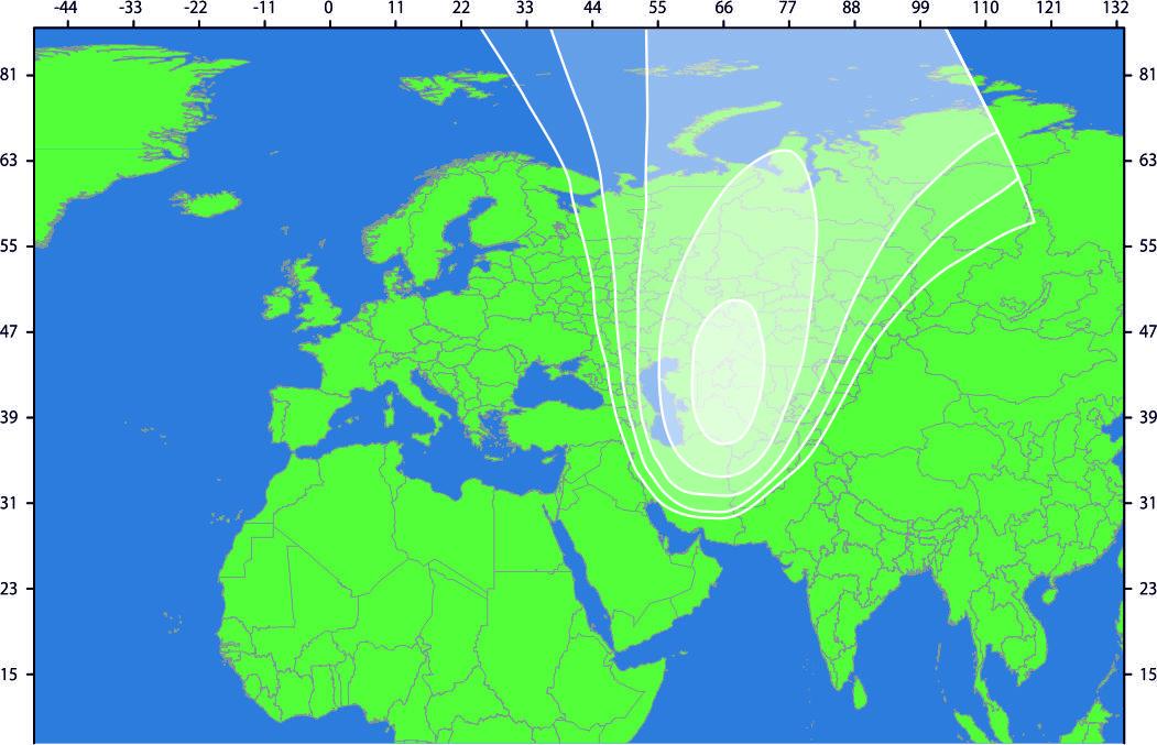 Зона охвата спутника IntelSat-905 (spot 2)