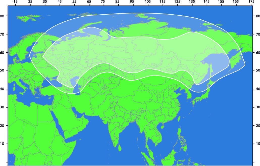 Зона охвата спутника Ямал-401