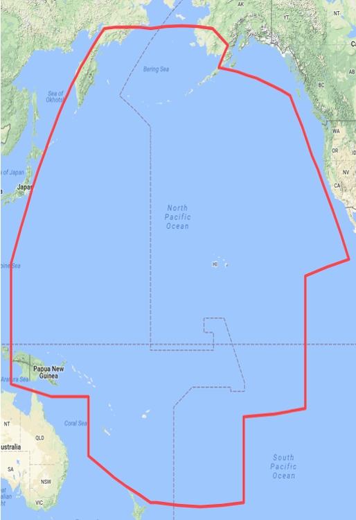 Зона охвата VSAT Global KU-Band - Тихий океан